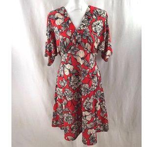 ASOS Women Dress Floral Print Red Orange V-neck